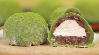 matcha cream daifuku green tea mochi dessert recipe cooking with dog