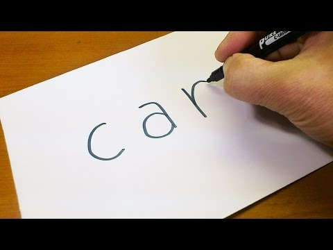 Easy! How to turn words CAR into a Cartoon for kids -  Let's Learn drawing art on paper