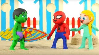 SUPERHERO BABIES HAVE FUN AT THE BEACH ❤ Spiderman, Hulk & Frozen Elsa Play Doh Cartoons For Kids