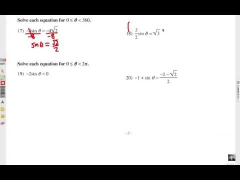Solving Trig Equations with the Unit Circle: Self Quiz 2