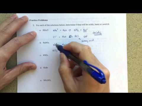 General Chemistry III - Acid-Base Properties of Salts