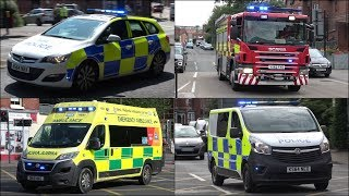 Heavy Rescue Fire Engine responding + Police Cars and Ambulances