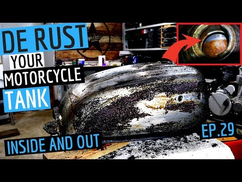 How To Remove Rust From A Honda CB750 Cafe Racer Motorcycle Tank Inside and Out - EP. 29