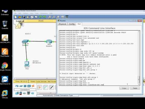 configuration VPN site to site packet tracer