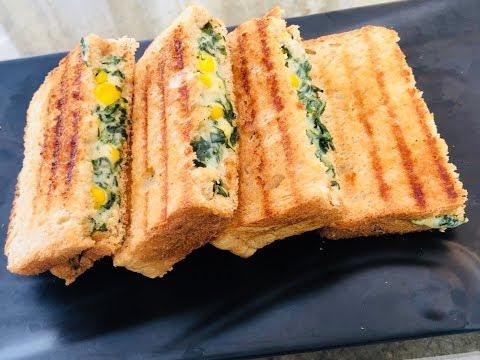 Spinach Corn Sandwich   Cheesy Corn Spinach Sandwich    Palak Corn Sandwich Recipe