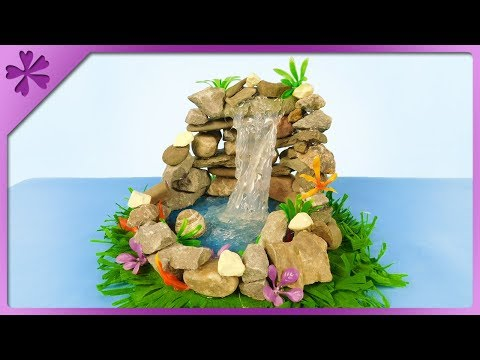 DIY How to make mini waterfall out of hot glue and stones (ENG Subtitles) - Speed up #476
