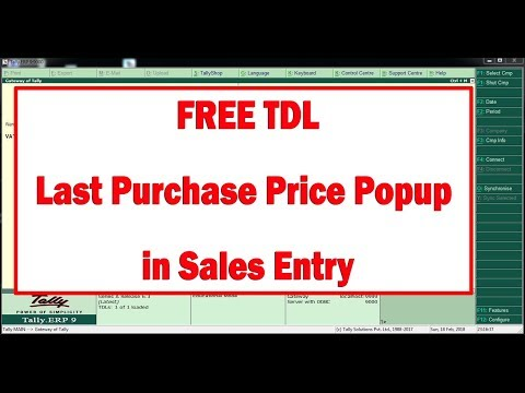 FREE TDL Last Purchase Price Popup in Tally ERP9  Sales Entry