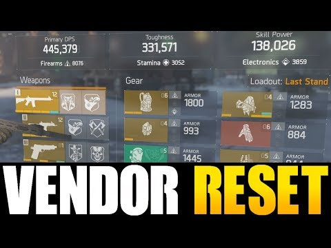 THE DIVISION - NICE VENDOR RESET | GOD ROLL WEAPONS, GEAR & GEAR MODS! (YOU NEED TO BUY)