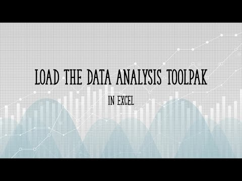 How to load the data analysis toolpak in Excel 2013
