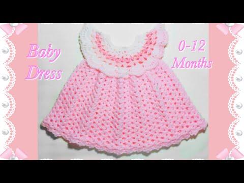 How to crochet a cute baby pinafore style little dress for 0-12 months #131 by Crochet for Baby