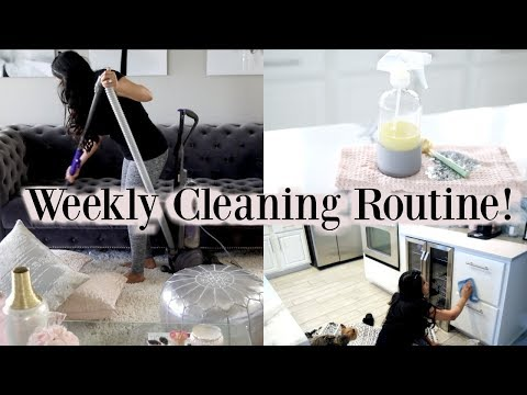 All Day Clean With Me! Weekly Cleaning Schedule Routine! MissLizHeart