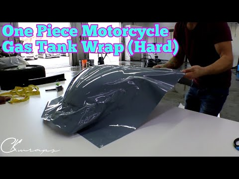 How To Vinyl Wrap A Motorcycle Gas Tank In One Piece with Vvivid Nardo Grey