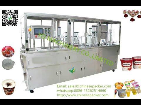 square cup bowl box fill seal machine suppliers ice cream oil  milk piston filling sealing equipment