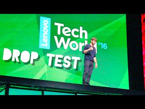 Ashton Kutcher drop tests the Moto Z at Lenovo Tech World!