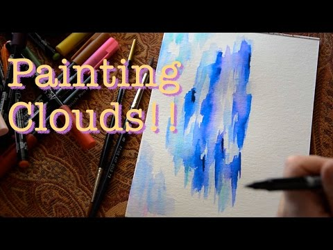 Painting Clouds with Sakura Koi Colouring Brush Pen!