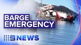 Barge flips trapping workers underneath in Sydney   Nine News Australia