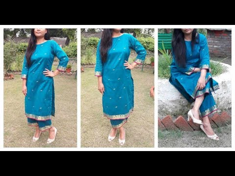 Make Full Suit From Old Saree   DIY Kurti   Measurement ,cutting ,Stitching