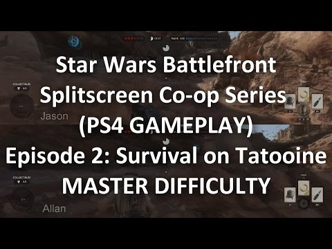 Playing Survival with Splitscreen Co-op in Star Wars Battlefront - Tatooine - MASTER Difficulty