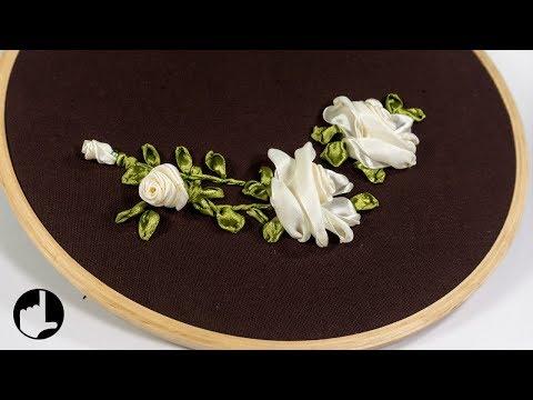 Stitch Ribbon Roses: Elegant Flower Design by HandiWorks #125