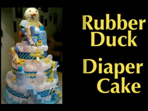 How to make a daiper cake for a baby shower - RUBBER DUCK DIAPER CAKE - diy