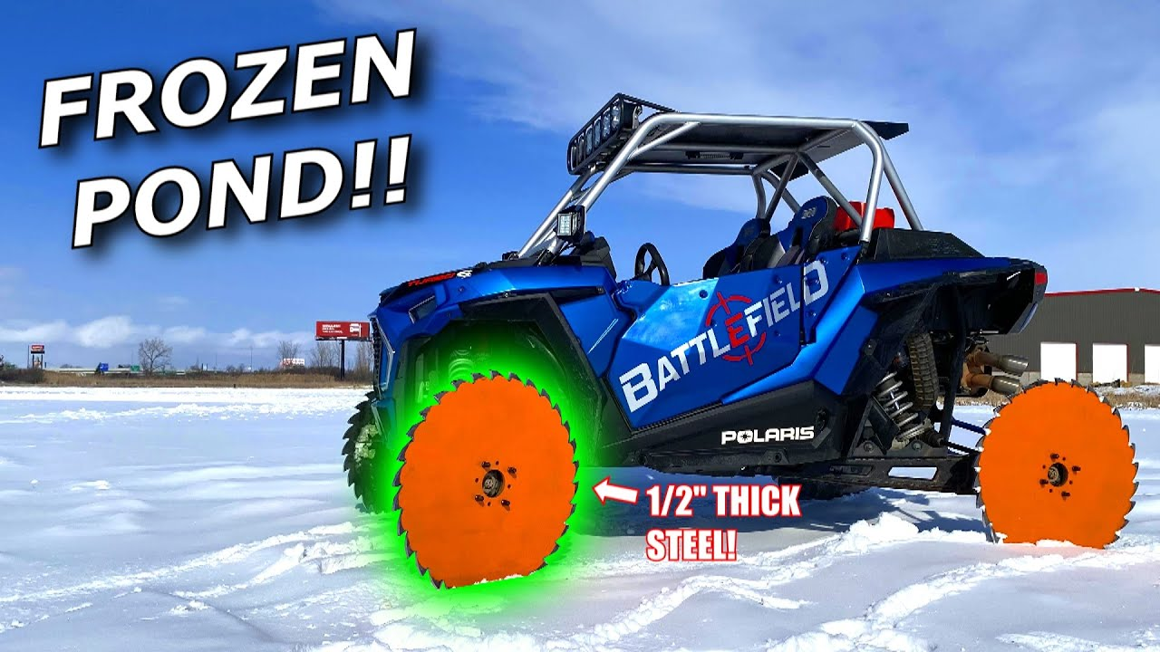 30 inch SAW BLADE WHEELS on our RZR Turbo on ICE!! GOOD or BAD?