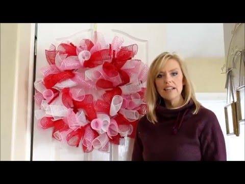 Deco Mesh Valentine's Wreath Tutorial Part 1