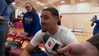 Klay Thompson on randomly getting interviewed for local New York news station | ESPN