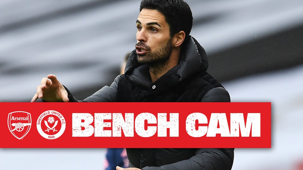 BENCH CAM | Arsenal 2-1 Sheffield United | Mikel Arteta reacts to another home win! | Premier League