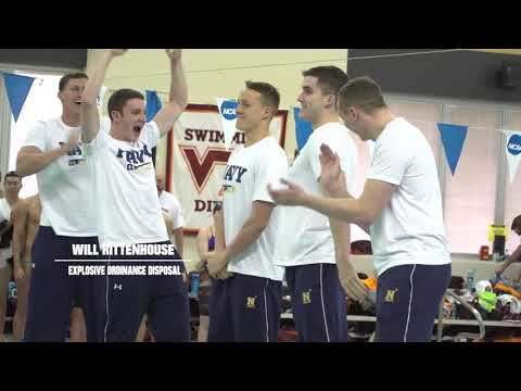 Navy men's swimmers learn their service assignment