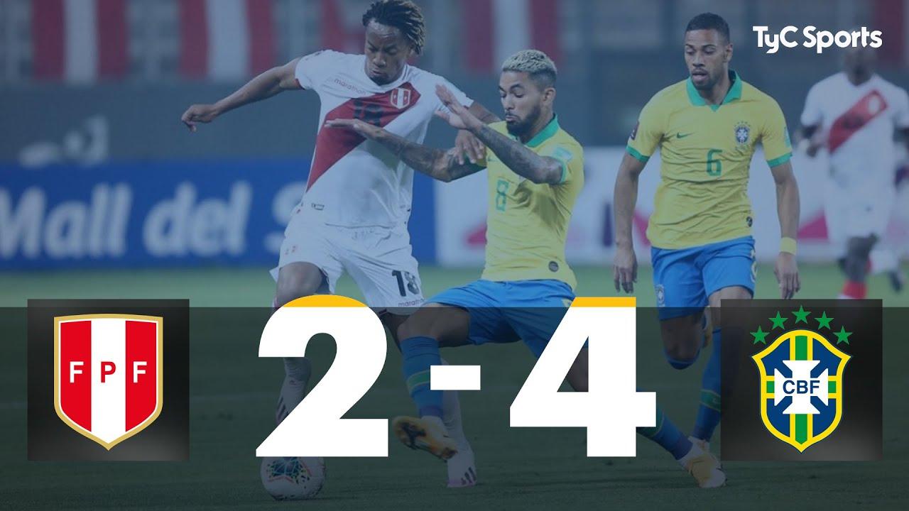 Perú 2 vs. 4 Brasil   Eliminatorias a Qatar 2022 - Fecha 2