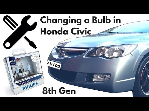 Change Headlight Bulb in a Honda Civic 2006 8th Gen FD
