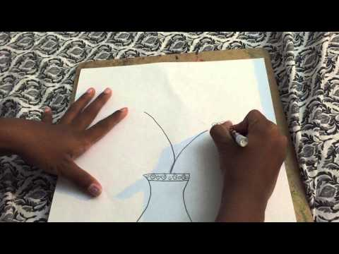 how to draw flower pot by sanvithavaddi