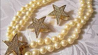 Copy of Joan Rivers Stars Pearls Clip On Earrings Necklace Vintage Gold Tone