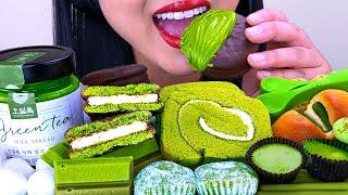 Download ASMR GREEN TEA MILK SPREAD ICE CREAM, MARSHMALLOW, EDIBLE SPOONS, CAKE   ASMR Phan Video