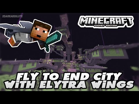 HOW TO FLY TO END CITY USING ELYTRA WINGS - MINECRAFT PE 0.17.0 - 1.0
