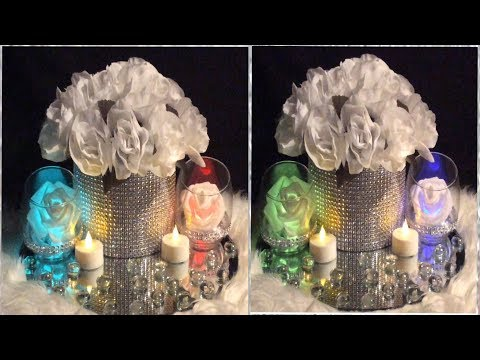Dollar Tree White Bling Wedding Centerpiece/ DIY Lighted Tealight Candles/ Extreme Dollar Tree Haul