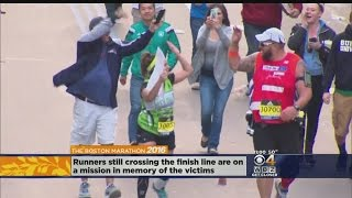 Runners Overcome With Emotion At Boston Marathon Finish Line