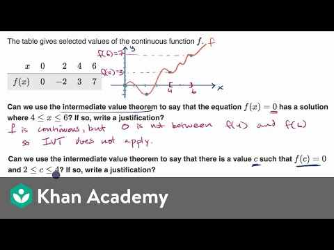 Example justifying use of intermediate value theorem