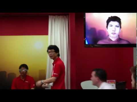 Docomo Glasses Phone video chat demo at CEATEC Japan (HD)