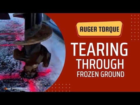 Auger Torque tears through asphalt, frozen ground