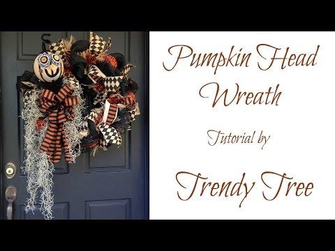 Pumpkin Head Halloween Wreath Tutorial