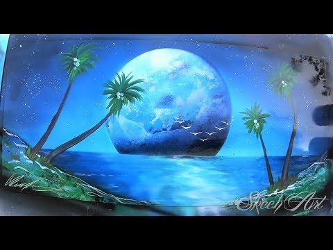 SPRAY PAINT ART -Tropical MOONRISE by Skech