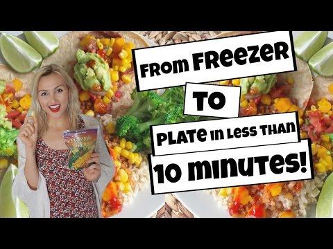 Healthy VEGAN Dinner + Dessert using FROZEN FOOD! 10 Minute Recipes