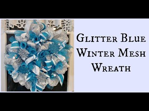 Glitter Blue Winter Mesh Wreath