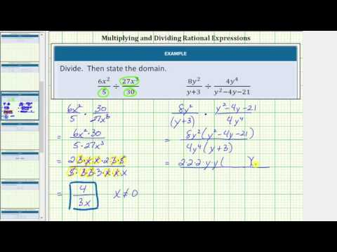 Divide Rational Expressions and Give the Domain