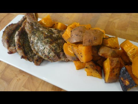 Herb Rubbed Pork Chops with Fire Roasted Sweet Potatoes