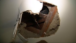 Did Falling Ice from a Plane Cause This Hole in Homeowner