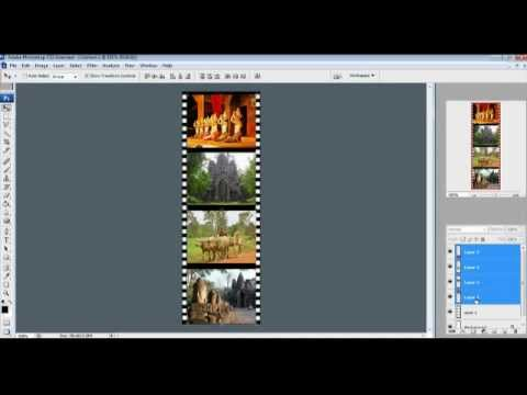 how to make scrolling up film strip in Photoshop