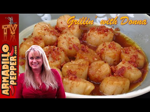 BBQ-Rubbed Seared Scallops with Bacon on the Grill