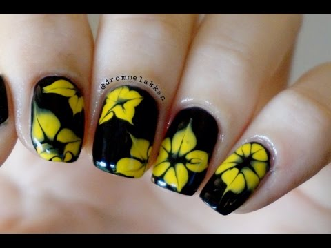 How to marble Simple Yellow Dotted Flowers nailart tutorial